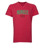 Morocco Football V-Neck T-Shirt (Heather Red)