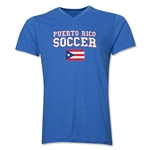Puerto Rico Soccer V-Neck T-Shirt (Heather Royal)