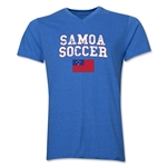 Samoa Soccer V-Neck T-Shirt (Heather Royal)