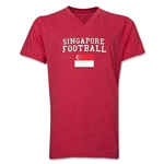 Singapore Football V-Neck T-Shirt (Heather Red)