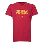 Vietnam Football V-Neck T-Shirt (Heather Red)