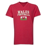 Wales Football V-Neck T-Shirt (Heather Red)