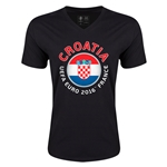 Croatia Euro 2016 Fashion V-Neck T-Shirt (Black)
