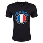 France Euro 2016 Fashion V-Neck T-Shirt (Black)