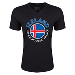 Iceland Euro 2016 Fashion V-Neck T-Shirt (Black)
