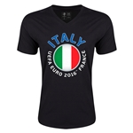 Italy Euro 2016 Fashion V-Neck T-Shirt (Black)