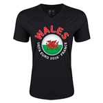 Wales Euro 2016 Fashion V-Neck T-Shirt (Black)