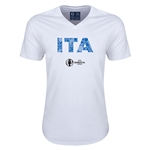 Italy Euro 2016 Elements V-Neck T-Shirt (White)