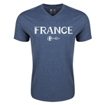 France Euro 2016 Core V-Neck T-Shirt (Heather Navy)