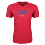 Italy Euro 2016 Core V-Neck T-Shirt (Heather Red)