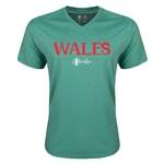 Wales Euro 2016 Core V-Neck T-Shirt (Heather Green)
