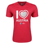 Austria Euro 2016 Heart V-Neck T-Shirt (Heather Red)