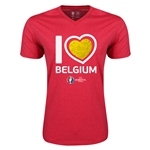 Belgium Euro 2016 Heart V-Neck T-Shirt (Heather Red)