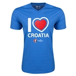 Croatia Euro 2016 Heart V-Neck T-Shirt (Heather Royal)