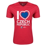 Czech Republic Euro 2016 Heart V-Neck T-Shirt (Heather Red)