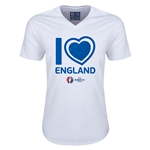 England Euro 2016 Heart V-Neck T-Shirt (White)