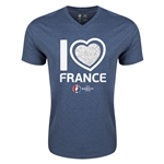 France Euro 2016 Heart V-Neck T-Shirt (Heather Navy)