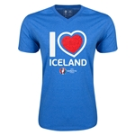 Iceland Euro 2016 Heart V-Neck T-Shirt (Heather Royal)