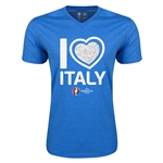 Italy Euro 2016 Heart V-Neck T-Shirt (Heather Royal)
