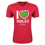 Wales Euro 2016 Heart V-Neck T-Shirt (Heather Red)