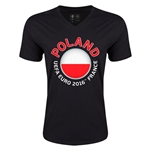 Poland Euro 2016 Fashion V-Neck T-Shirt (Black)