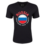 Russia Euro 2016 Fashion V-Neck T-Shirt (Black)