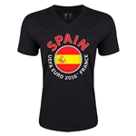 Spain Euro 2016 Fashion V-Neck T-Shirt (Black)