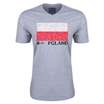 Poland Euro 2016 Fashion V-Neck T-Shirt (Grey)