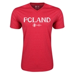 Poland Euro 2016 Core V-Neck T-Shirt (Heather Red)