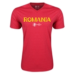 Romania Euro 2016 Core V-Neck T-Shirt (Heather Red)