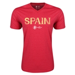 Spain Euro 2016 Core V-Neck T-Shirt (Heather Red)