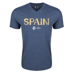 Spain Euro 2016 Core V-Neck T-Shirt (Heather Navy)