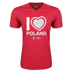 Poland Euro 2016 Heart V-Neck T-Shirt (Heather Red)