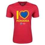 Romania Euro 2016 Heart V-Neck T-Shirt (Heather Red)