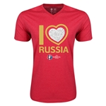 Russia Euro 2016 Heart V-Neck T-Shirt (Heather Red)
