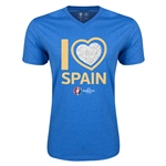 Spain Euro 2016 Heart V-Neck T-Shirt (Heather Red)