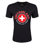Switzerland Euro 2016 Fashion V-Neck T-Shirt (Black)