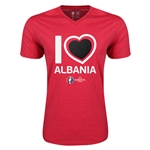 Albania Euro 2016 Heart V-Neck T-Shirt (Heather Red)