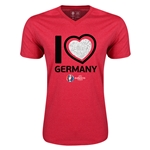 Germany Euro 2016 Heart V-Neck T-Shirt (Heather Red)