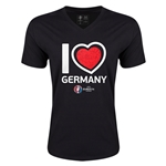 Germany Euro 2016 Heart V-Neck T-Shirt (Black)