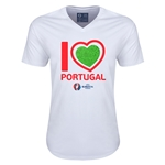 Portugal Euro 2016 Heart V-Neck T-Shirt (White)