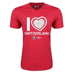 Switzerland Euro 2016 Heart V-Neck T-Shirt (Heather Red)