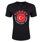 Turkey Euro 2016 Fashion V-Neck T-Shirt (Black)