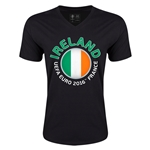 Ireland Euro 2016 Fashion V-Neck T-Shirt (Black)
