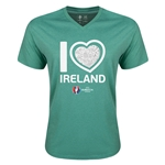 Ireland Euro 2016 Heart V-Neck T-Shirt (Heather Green)