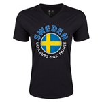Sweden Euro 2016 Fashion V-Neck T-Shirt (Black)