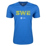 Sweden Euro 2016 Elements V-Neck T-Shirt (Heather Royal)