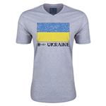Ukraine Euro 2016 Fashion V-Neck T-Shirt (Grey)