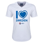 Sweden Euro 2016 Heart V-Neck T-Shirt (White)