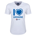 Ukraine Euro 2016 Heart V-Neck T-Shirt (White)